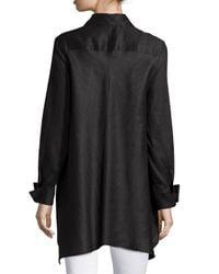 Neiman Marcus - White Linen Long-sleeve Draped-back Blouse - Lyst