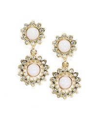 R.j. Graziano | Metallic Double Floral Drop Earrings | Lyst
