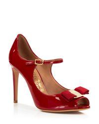 Ferragamo - Red Open Toe Mary Jane Ankle Strap Pumps - Mood - Lyst