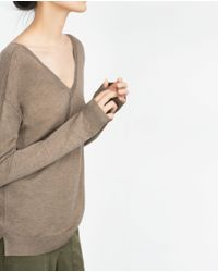 Zara | Brown Double V-neck Sweater | Lyst