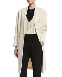Brunello Cucinelli - White Collarless Textured Cotton Overcoat - Lyst