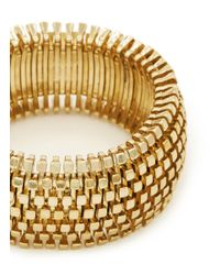 Kenneth Jay Lane | Metallic Metal Weave Thick Elastic Bracelet | Lyst