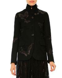 Valentino - Black Gabardine Butterfly Button-front Jacket for Men - Lyst