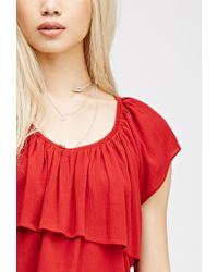 Forever 21 - Red Flounce Crop Top - Lyst