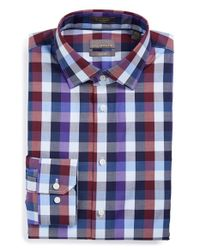 Calibrate | Blue Trim Fit Non-iron Stretch Check Dress Shirt for Men | Lyst