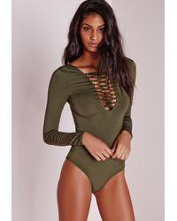 8b7bbf8338 Lyst - Missguided Lattice Front Slinky Bodysuit Khaki in Natural