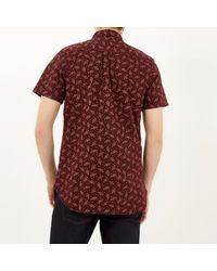 River Island - Purple Burgundy Japanese Floral Print Shirt for Men - Lyst