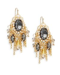 Saks Fifth Avenue | Metallic Oval Drop Chain Fringe Earrings | Lyst