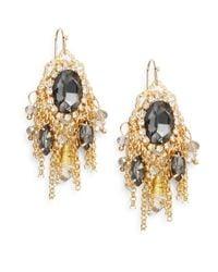 Saks Fifth Avenue - Metallic Oval Drop Chain Fringe Earrings - Lyst