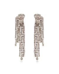 Oscar de la Renta | Metallic Tiered Drop Crystal Earrings | Lyst