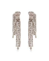 Oscar de la Renta - Metallic Tiered Drop Crystal Earrings - Lyst