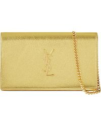 Saint Laurent | Metallic Monogram Leather Shoulder Bag | Lyst