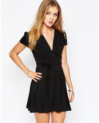 Glamorous | Wrap Front Tea Dress - Black | Lyst