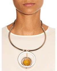Marni - Yellow Horn, Leather And Metal Necklace - Lyst