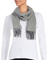Polo Ralph Lauren | Gray Fringe Knit Scarf | Lyst