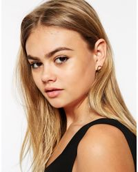 ASOS | Metallic Gold Plated Sterling Silver 12Mm Hexagon Stud Earrings | Lyst
