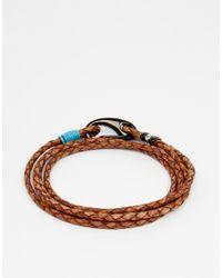 Ted Baker - Brown Bracelet Plaited Leather Wrap for Men - Lyst