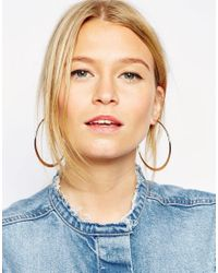 ASOS | Metallic Limited Edition Flat Edge Hoop Earrings | Lyst