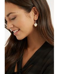 Oasis | Metallic Leaf And Pearl Drop Earring | Lyst