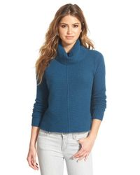 Halogen | Blue Mixed Rib Turtleneck Cashmere Sweater | Lyst