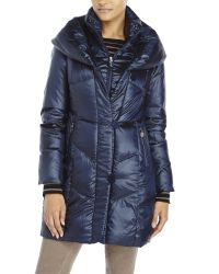 T Tahari | Blue Pillow Collar Down Coat | Lyst