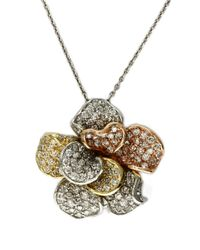 Effy | Metallic Diamond And 14k Tri-tone Gold Flower Pendant, 1.57 Tcw | Lyst