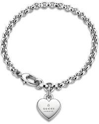 Gucci | Metallic Heart Sterling Silver Pendant Bracelet | Lyst