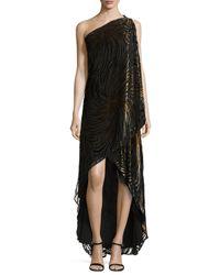 Halston | Black One-Shoulder Velvet Draped Gown | Lyst