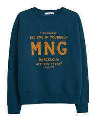 Mango - Blue Printed Velvet Message Sweatshirt - Lyst