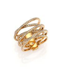 Michael Kors - Metallic Brilliance Statement Pave Crisscross Ring/goldtone - Lyst