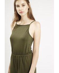 TOPSHOP - Green High Neck Culotte Jumpsuit - Lyst