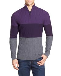 Bugatchi - Multicolor Colorblock Quarter Zip Wool Sweater for Men - Lyst