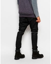 ASOS - Black Drop Crotch Joggers In Faux Leather With Cracked Detail for Men - Lyst