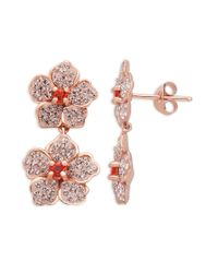 Lord & Taylor | Pink Sterling Silver Vintage Rose Colored Crystal Flower Drop Earrings | Lyst
