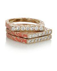 Isharya - Metallic Set Of Three Goldplated Enamel and Cubic Zirocnia Rings - Lyst