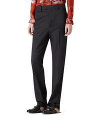 Gucci - Black Stretch Wool Slim Pants - Lyst