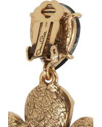 Oscar de la Renta - Black Gold-plated Crystal Clip Earrings - Lyst