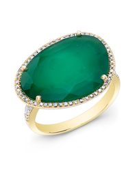 Anne Sisteron - Metallic 14kt Yellow Gold Green Onyx Organic Diamond Cocktail Ring - Lyst