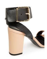 Mango - Black Anklecuff Leather Sandals - Lyst