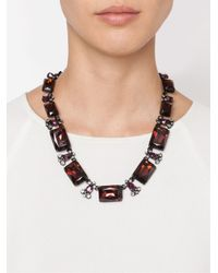 Oscar de la Renta - Black Rectangular Crystal Necklace - Lyst
