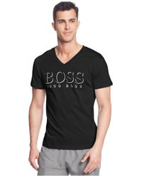 BOSS - Black Logo V-neck T-shirt for Men - Lyst
