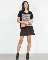 Zara | Black Patchwork T-shirt | Lyst