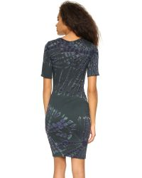 Raquel Allegra - Short Sleeve Fitted Dress - Black & Blues Tie Dye - Lyst