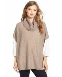 Halogen - Brown Wool & Cashmere Poncho - Lyst