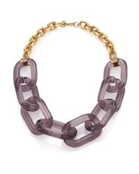 Kenneth Jay Lane | Metallic Translucent Link Statement Necklace | Lyst