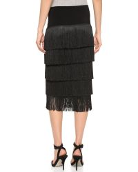 Norma Kamali | Black Allover Fringe Skirt | Lyst