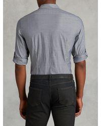 John Varvatos - Blue Slim Fit Rolled Sleeve Shirt for Men - Lyst
