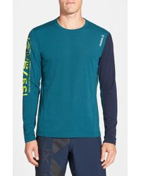 Reebok | Blue 'one Series Breeze' Long Sleeve Playice Graphic T-shirt for Men | Lyst