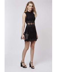 TOPSHOP | Black Flock Sheer Lace Panel Dress | Lyst