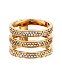 Michael Kors - Metallic Tri Stack Open Pave Bar - Lyst